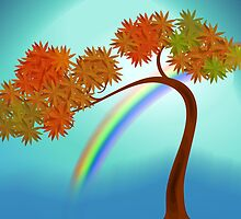 Digital painting of a tree with rainbow by tillydesign