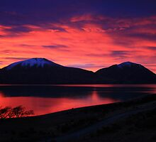 """fiery sky"" lake ohau, south island, new zealand by rina  thompson"