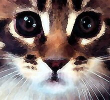watercolor calico cat with red nose by john brent