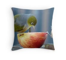 Holding the Apple Up! - Wax Eye NZ - Southland Throw Pillow