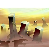 Silhouette  of eagles over the desert by tillydesign