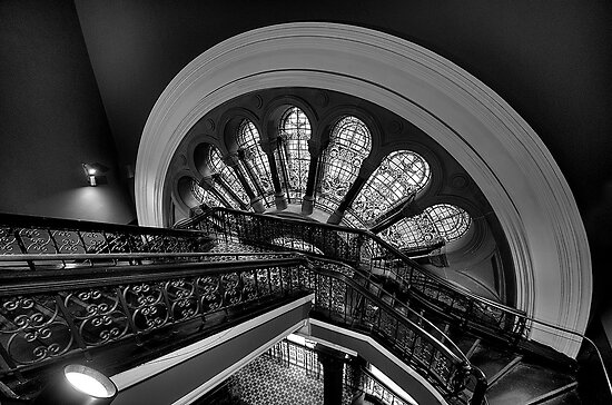 Staircase Addiction - Queen Victoria Building (Monochrome), Sydney - The HDR Experience by Philip Johnson