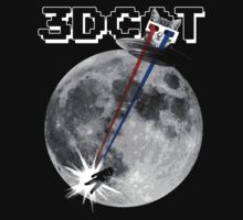 3D Cat Attacks the Moon (Black T-shirt) by Greg Tippett