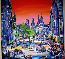Red  Sky Princess Street by Colm O'Brien