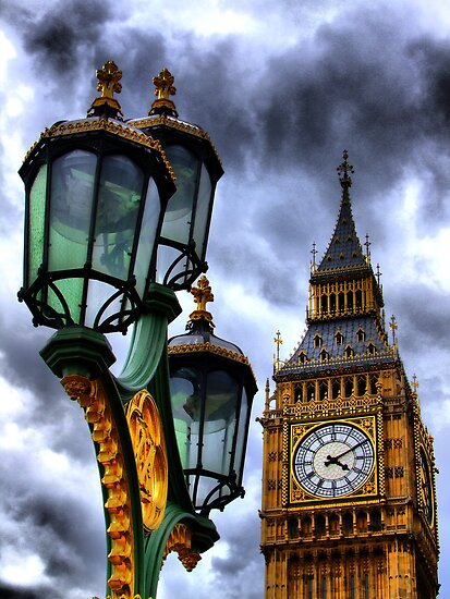 Big Ben and Lamp - HDR  by Colin J Williams Photography