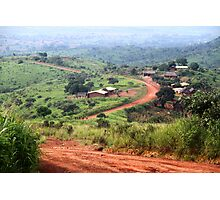 Orange Winding Road - Ring Road, Cameroon Photographic Print