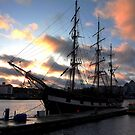 The Jeanie Johnston tall ship at sunset by Esther  Molin