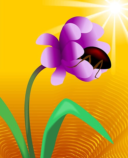 Honey tasting insect from the beautiful sun shining flower by tillydesign