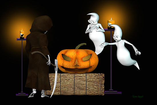 Halloween Deal .. the ghosts try to sell the pumpkin by LoneAngel