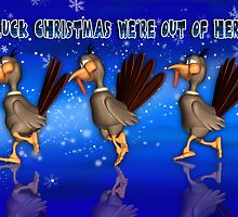 Fun Christmas Card With Running Turkeys by Moonlake