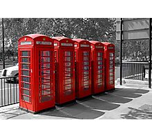 Group of Red Telephone boxes in London Photographic Print