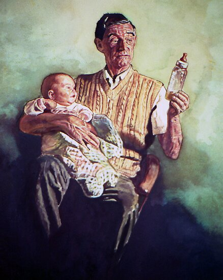 Portrait Art: Babysitting by Michael Haslam