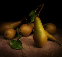 Conference Pears on Slate by Gazart