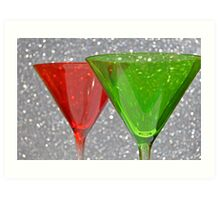 Christmas: Candy Cane and Mint Martinis Art Print