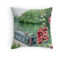Hollyhocks near the River Seine Throw Pillow