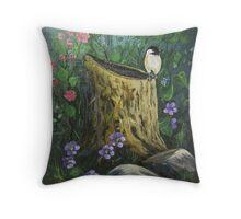 Chickadee On A Stump Throw Pillow