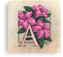 A is for Azalea Canvas Print