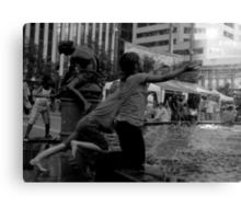 Children at the Fountain Canvas Print