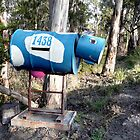 Blue Cow letterbox by Margaret  Hyde