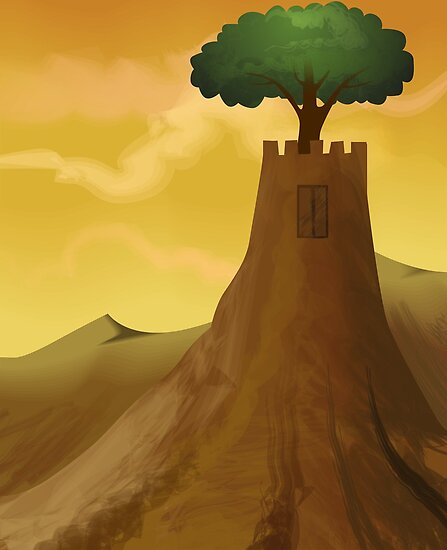 The beauty of the castle with the tree by tillydesign