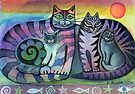 Cat family by Karin Zeller