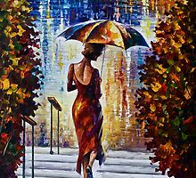 At The Steps - Original Art Oil Painting On Canvas By Leonid Afremov by Leonid  Afremov