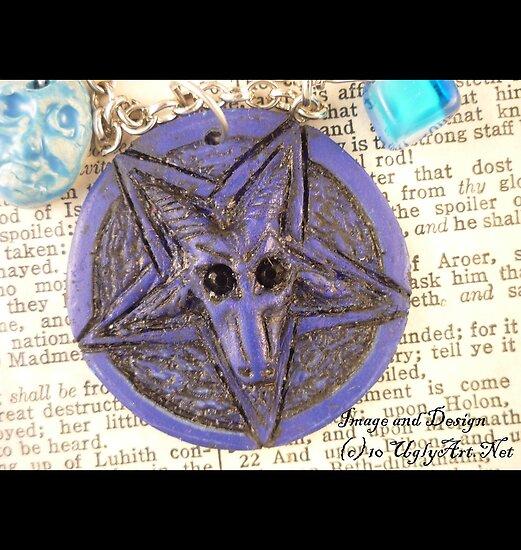 Blue Velvet Baphomet Necklace  by uglyshyla