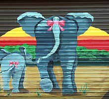 Elephants at the Garage Door by simpsonvisuals