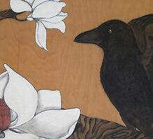 Crow and Magnolias by Gillienne Castillo