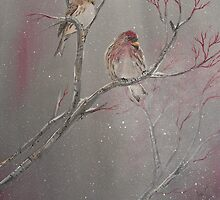 Winter Redpolls by southshoreart
