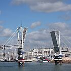 Bridge over the yacht harbour in Lagos Portugal by Christa Knijff