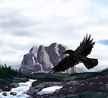 Raven Below Red Castle Lake by Brandon S.