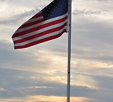 Flag at Sunset- Prairie Creek reservoir by mltrue
