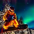 Snowboarding The Aurora Borealis  by David Rozansky