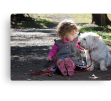 Child and her Dog Canvas Print
