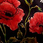Poppies on Black 1 by Angela Gannicott