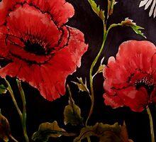 Poppies on Black 1 by Angela Gannicott