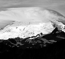 Mt. Baker Sunrise (Black and White) by Barb White