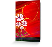 Romantic flowers with the symbol of love Greeting Card