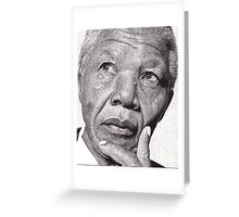 Nelson Mandela, Ink Drawing Greeting Card