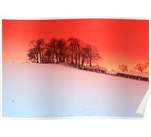 sunset over snow Upton, Chester Poster