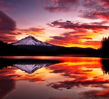 Trillium Lake On Fire by Darren White  Photography