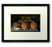 What are you gonna be for holloween?!? Framed Print
