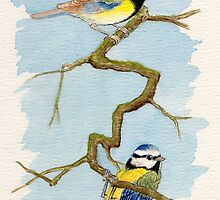 The Blue Tit - Cyanistes Caeruleus - Aquarel by RainbowArt