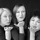 Blowing Kisses - 3 Stuffed Mums B&W by Glynn Jackson
