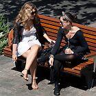 girls on a bench by DJohnW