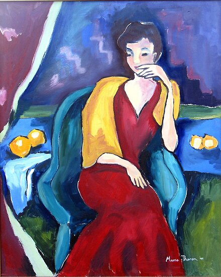 Waiting in a Red Dress by Marie Theron