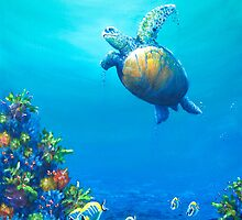 Turtles Under Sea Life by kwoolingtonart