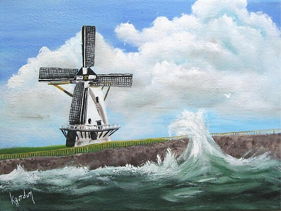 WindMill at stormy weather ..............kj's way.............. by WhiteDove Studio kj gordon