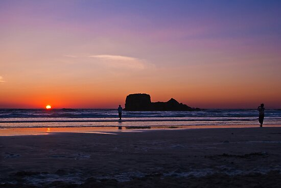 Sundown at Perranporth, Cornwall by Lissywitch